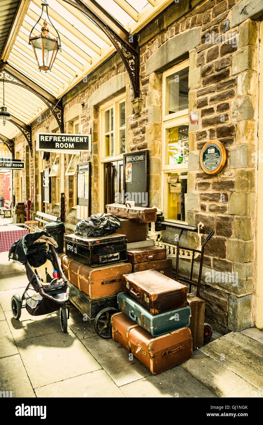 Luggage old and new on Winchcombe railway station in Glos UK - Stock Image