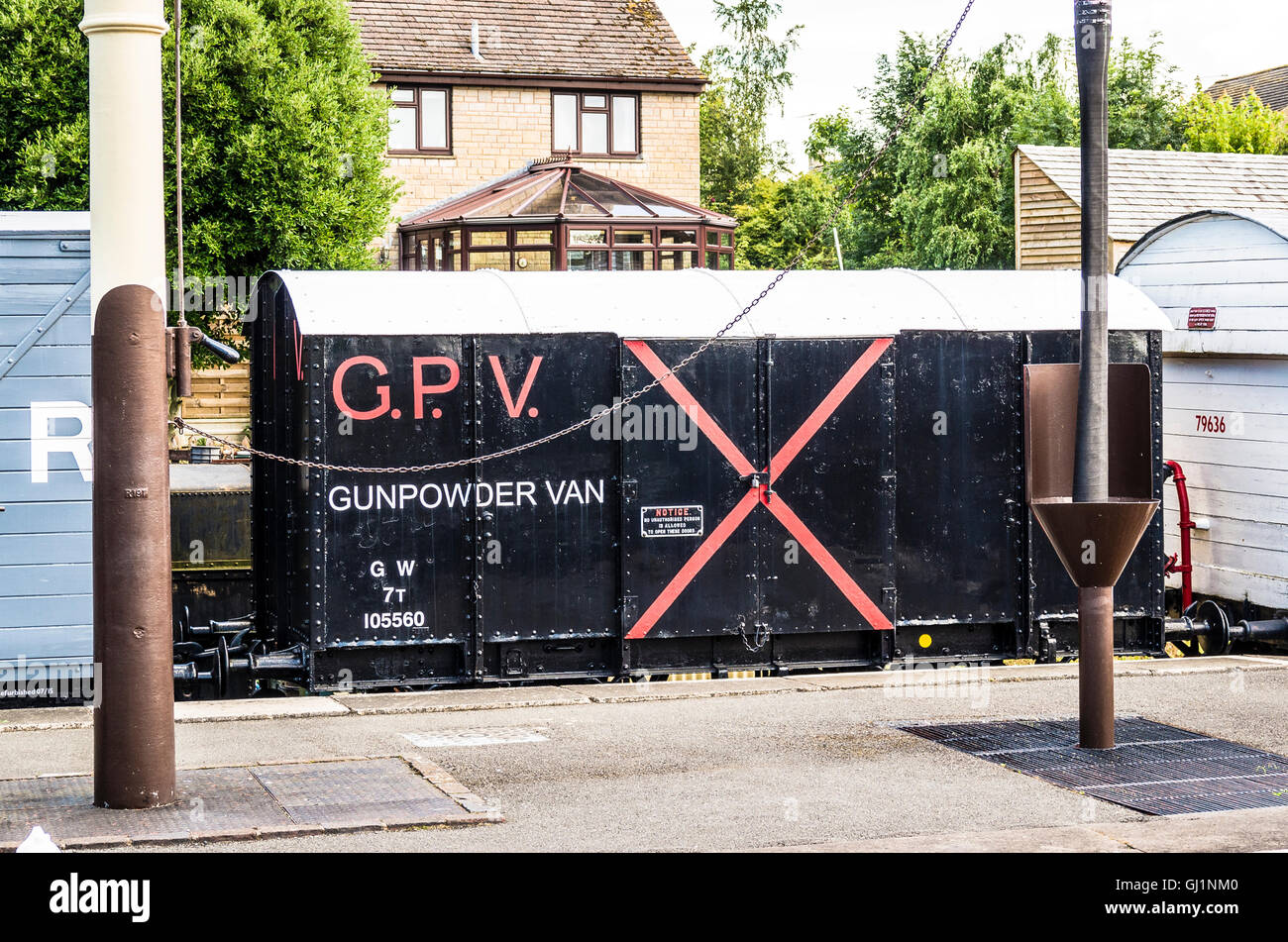 A rare van designed for conveying gunpowder by rail in UK - Stock Image