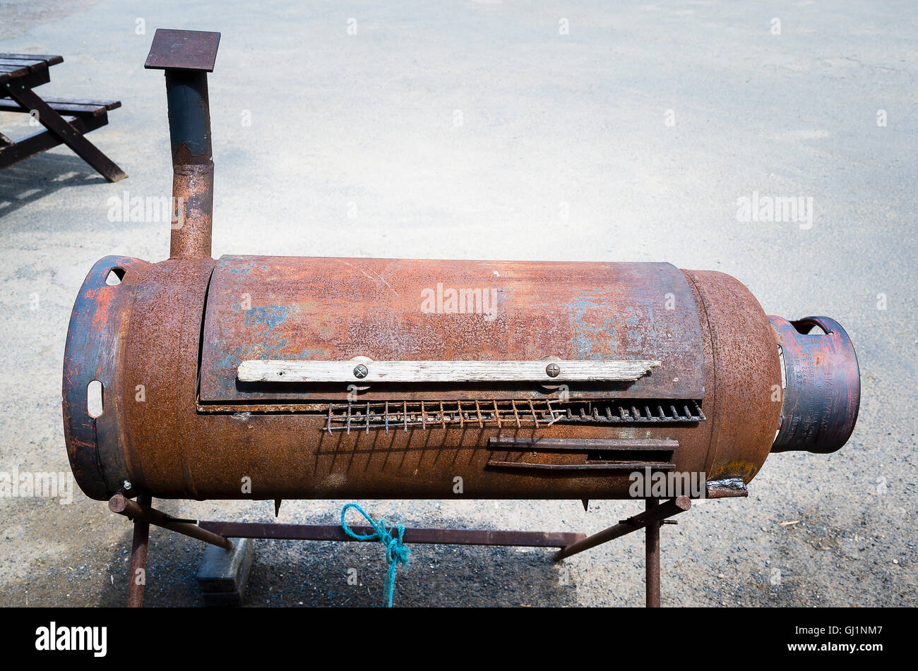 A DIY Barbecue oven made from a recycled cylinder - Stock Image