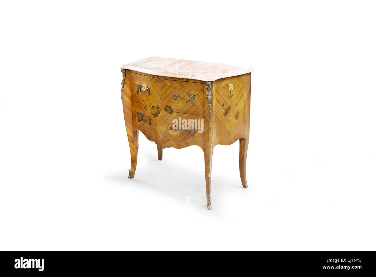 Vintage dresser on the white background. - Stock Image