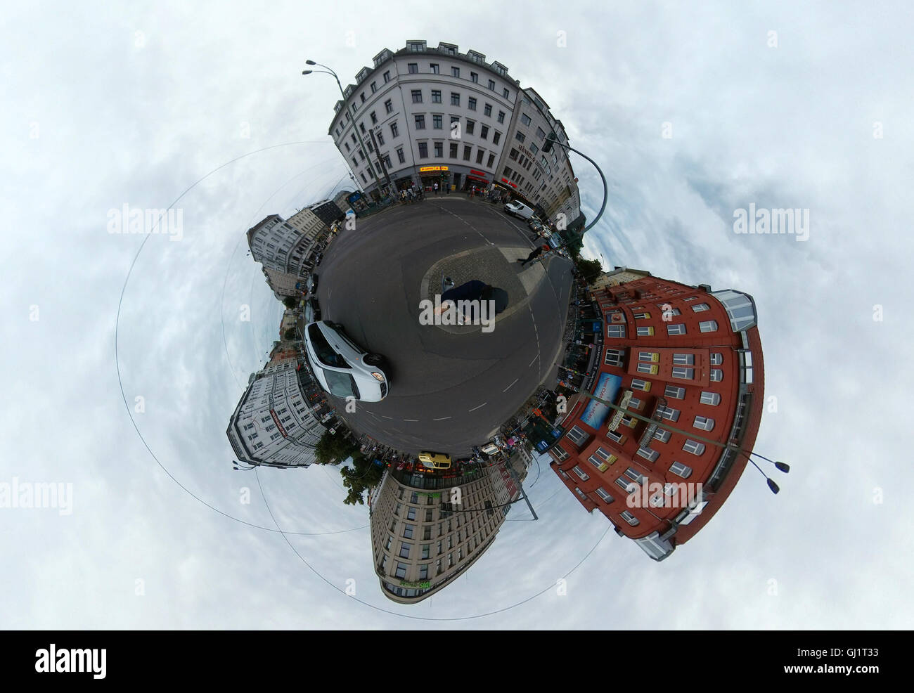 full circle Panorama: Rosenthaler Platz, Berlin-Mitte. - Stock Image