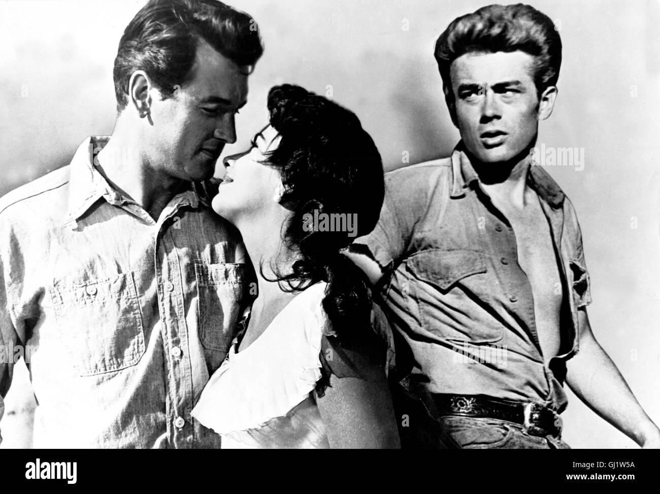 GIGANTEN Giant USA 1956 - George Stevens Der junge Jett Rink (JAMES DEAN, re) ist Gehilfe auf der Ranch der texanischen Grossgrundbesitzer Bick und Leslie Benedict (ROCK HUDSON und ELIZABETH TAYLOR), als er von Benedicts Schwester ein kleines Stück Land erbt. Nach Jahren mühsamer Arbeit sprudelt die ersehnte Ölquelle. Über Nacht zum Millionär geworden, fühlt sich Jett endlich den Benedicts gesellschaftlich gleichgestellt. Regie: George Stevens aka. Giant Stock Photo