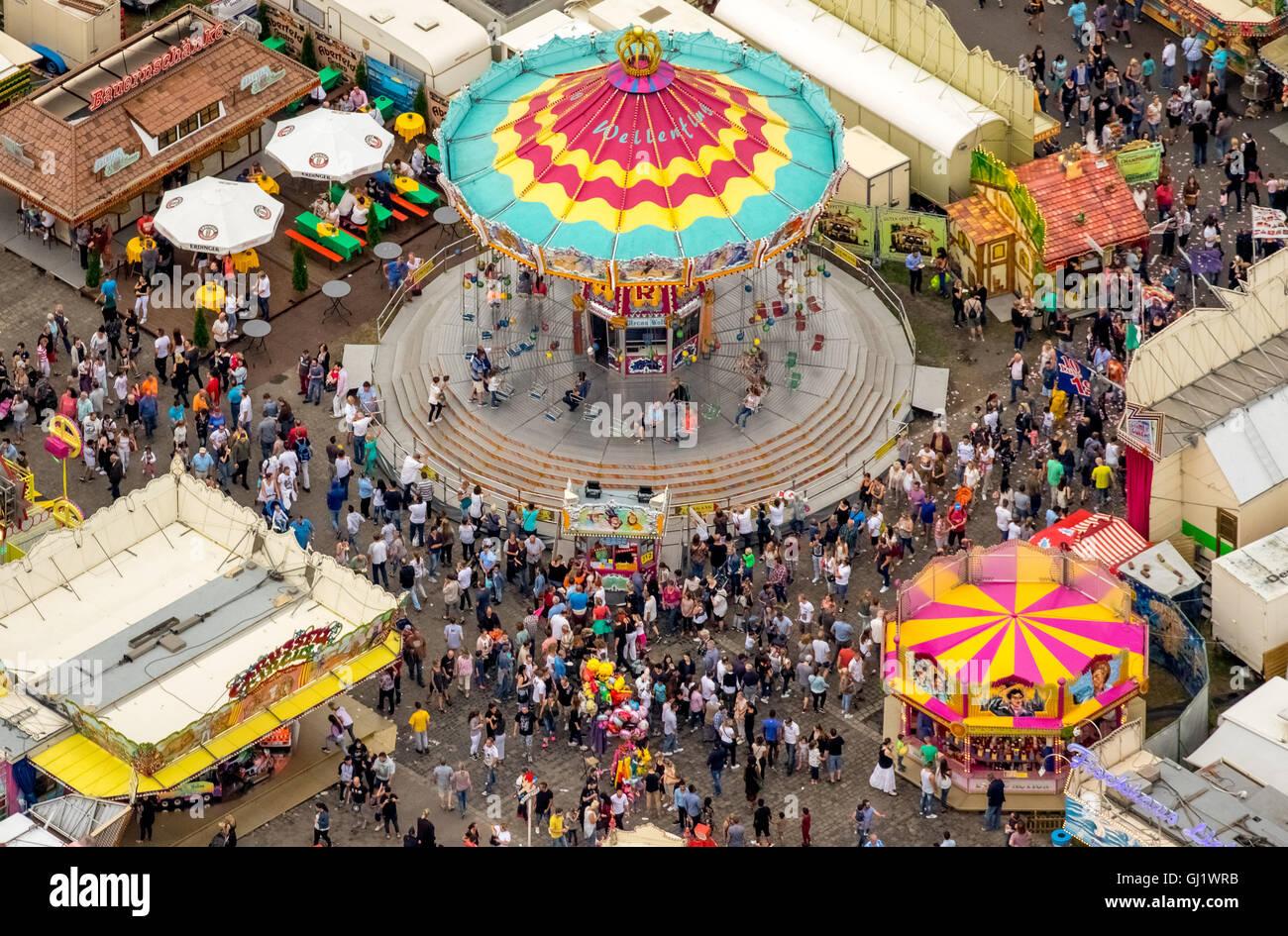 Aerial view, whirligig Gikas Wellenflug, Cranger Kirmes 2016 largest folk festival in the Ruhr, Herne Crange, Ruhr Stock Photo