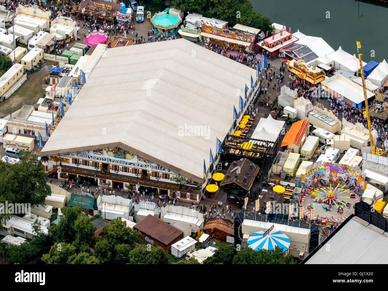 Aerial view, Cranger Festhalle, Hölzgens-Cranger-Festhalle, marquee, Cranger Kirmes 2016 largest folk festival in Stock Photo
