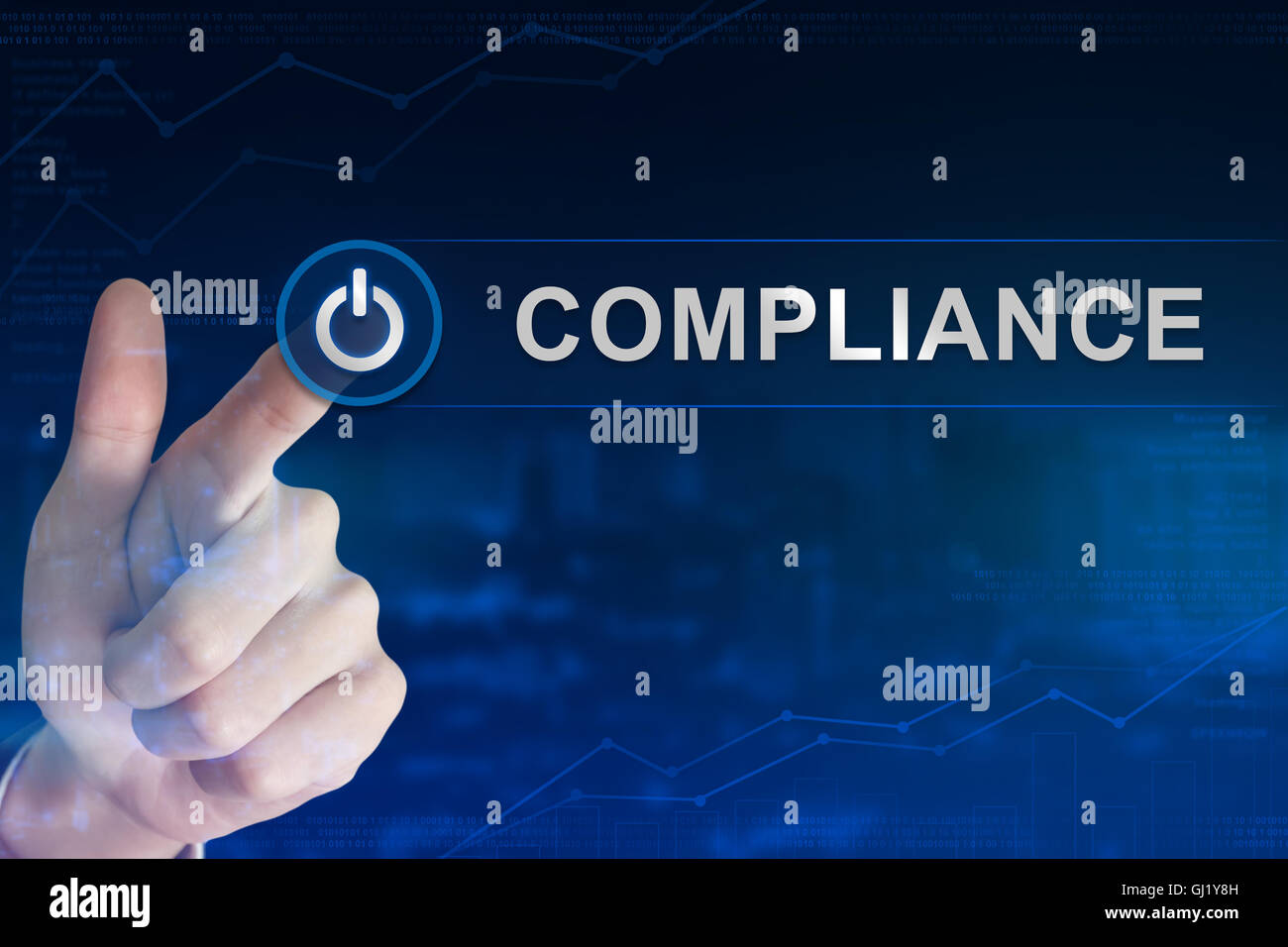 double exposure business hand clicking compliance button with blurred background - Stock Image