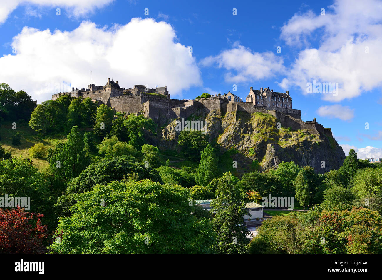 Edinburgh Castle from Princes Street Gardens, Edinburgh, Scotland - Stock Image