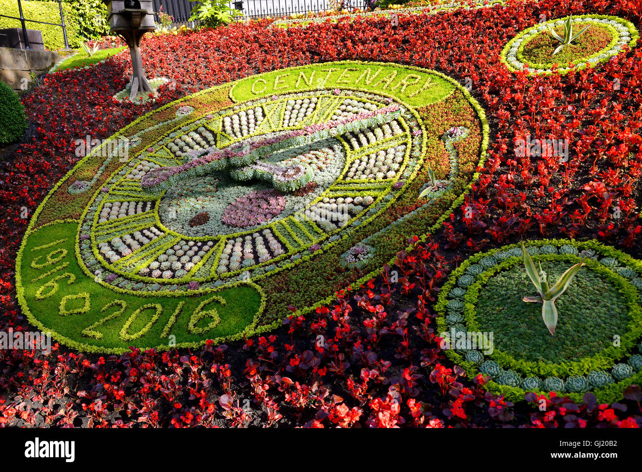Floral clock in Princes Street Gardens, Edinburgh, Scotland - Stock Image