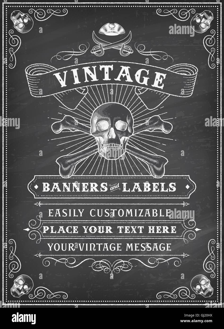 Vintage Looking Invite Template for a Party or Event with Death or Pirate Theme on a chalkboard background - Stock Image
