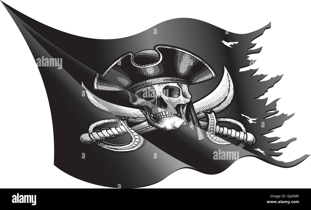 Vector illustration of a waving and torn Pirate Flag with Skull