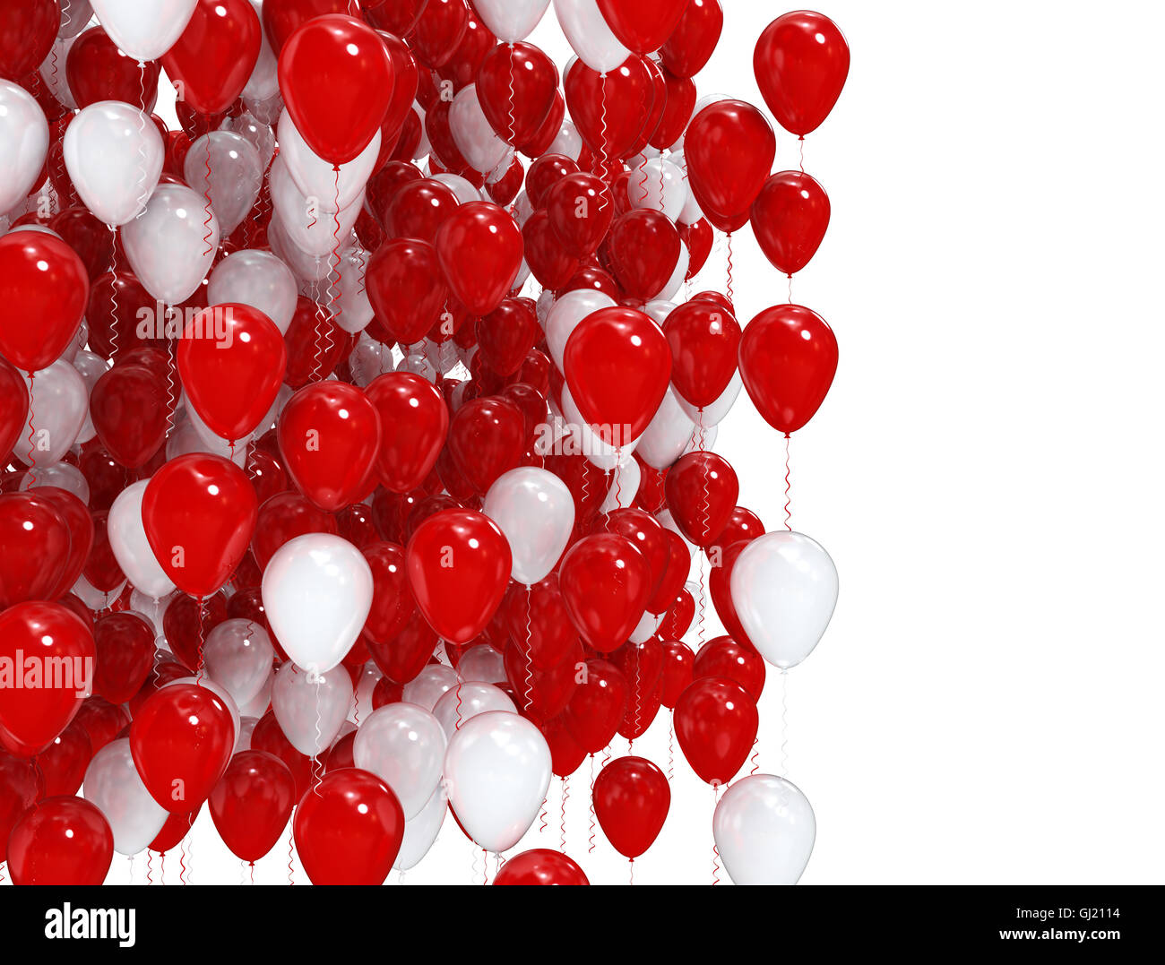 red and white party balloons isolated on white background stock