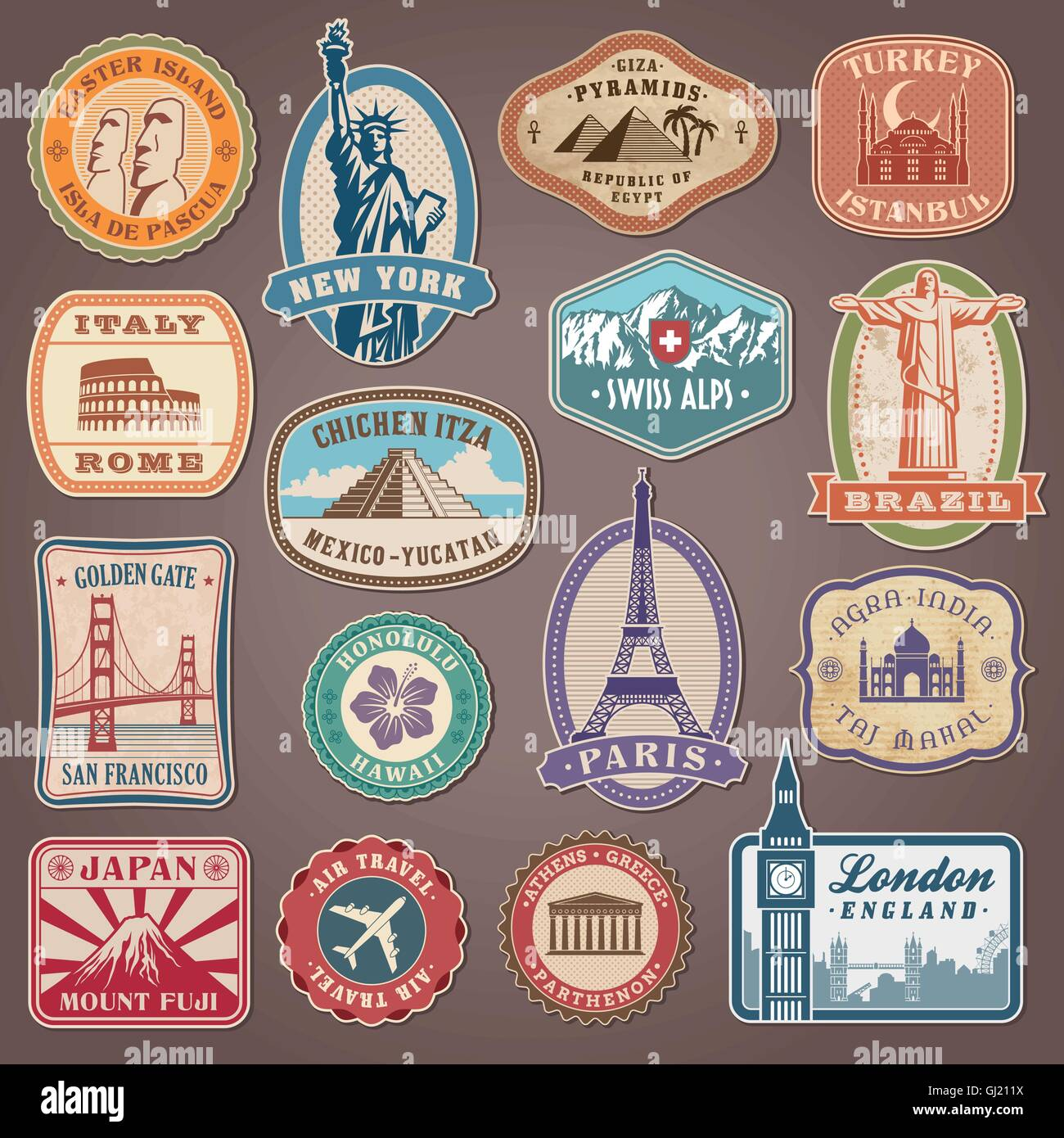 Collection of Vector labels with famous monuments and places - Stock Vector