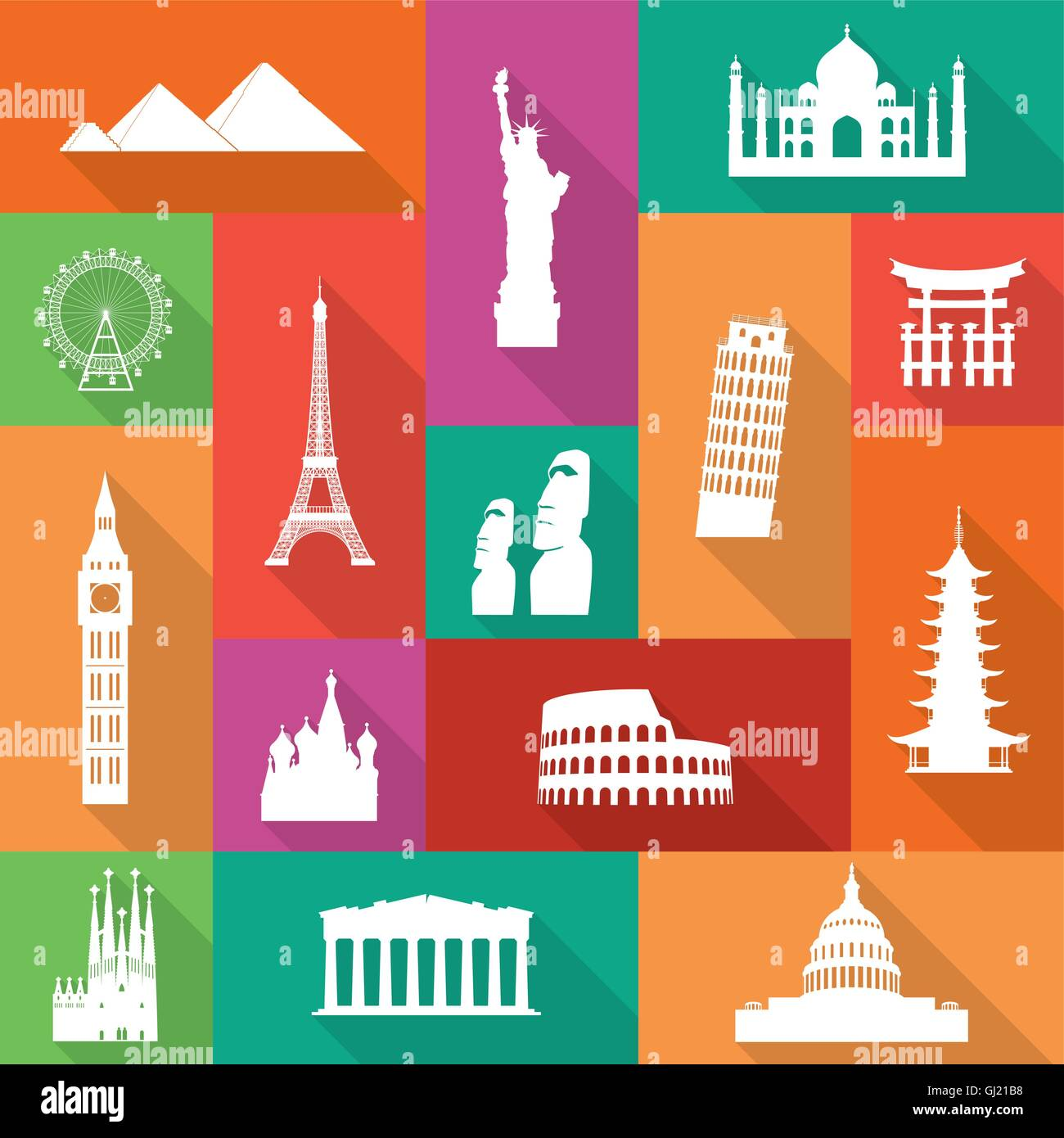 Famous monuments icons with long flat shadows. - Stock Vector