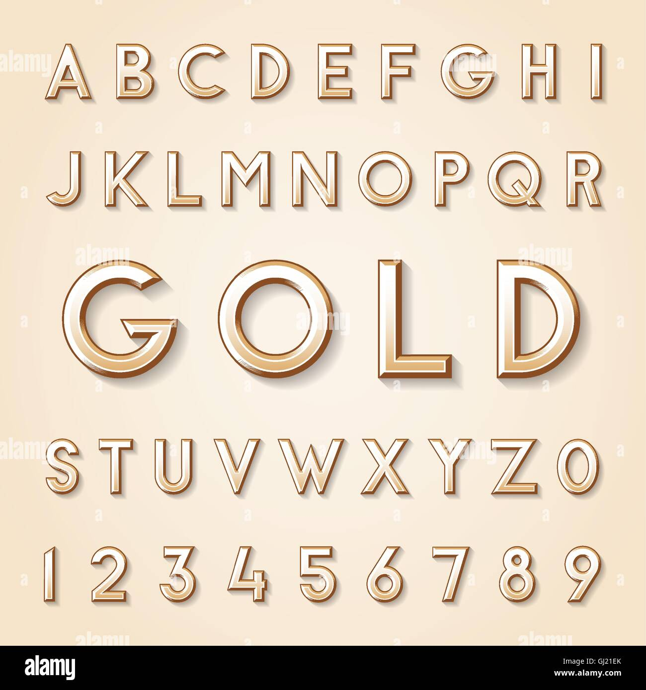 Gold Vintage high quality vector set of characters. - Stock Image