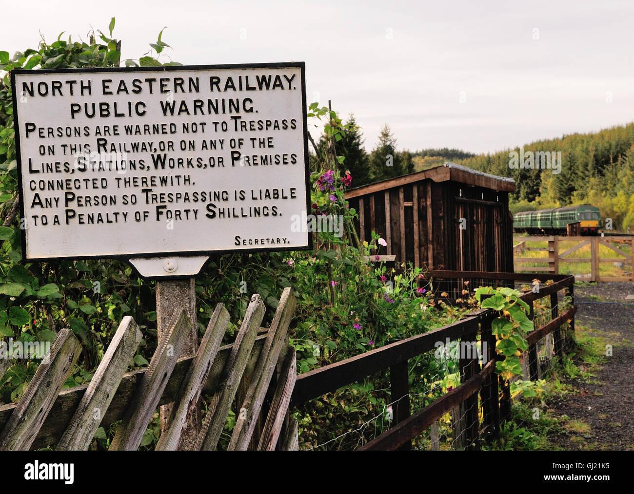 North Eastern Railway warning notice beside the North Yorkshire Moors Railway. - Stock Image