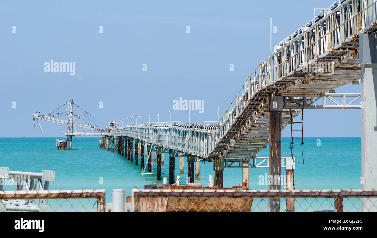 Industrial Salt conveyor Belt. A large belt moves salt out to a wharf for transport to markets around the world. - Stock Image