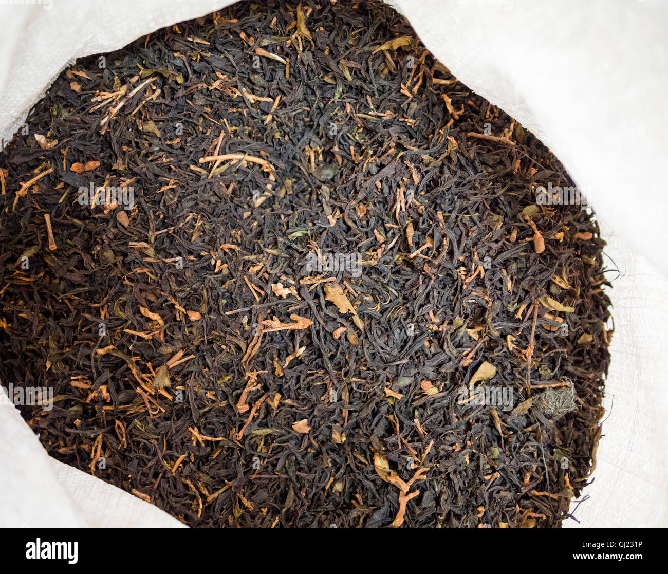 Detail of unsorted black tea in a sack. There's lots of stems and other debris that needs to be sorted out before - Stock Image