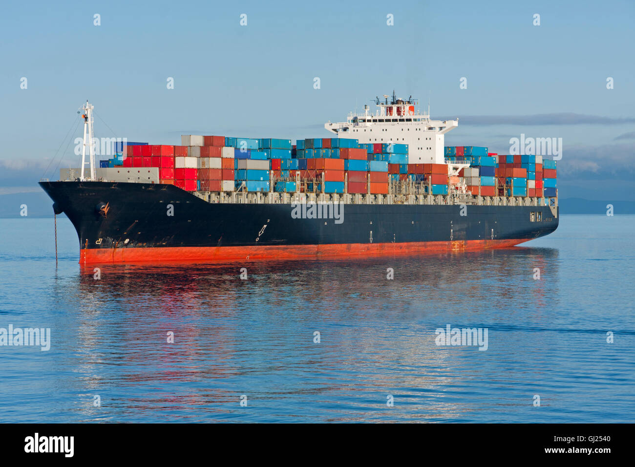 An aerial view of a container ship. - Stock Image