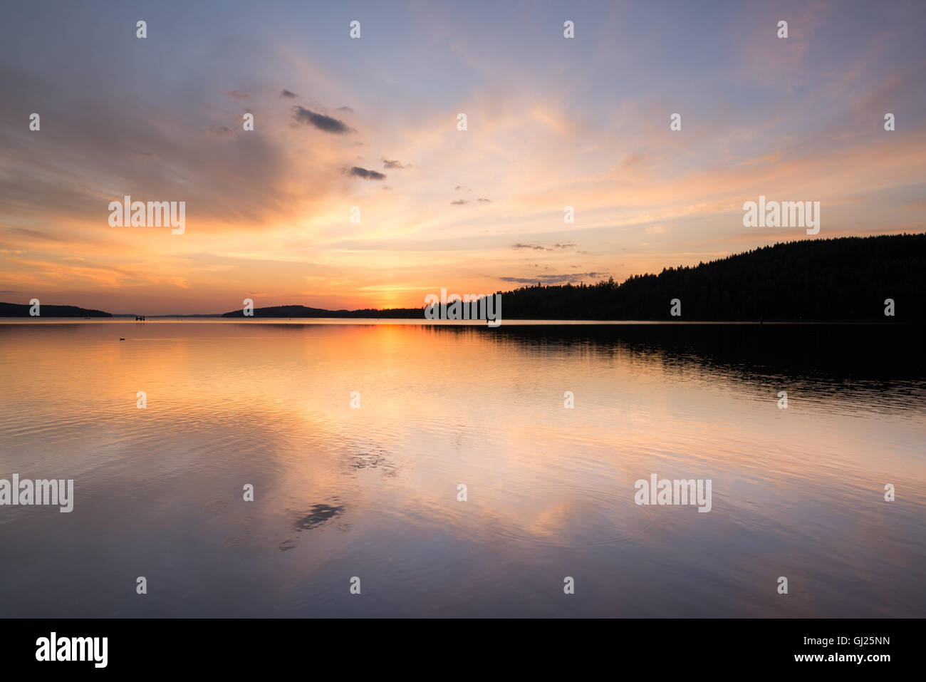 Clam lake at sunset - Stock Image