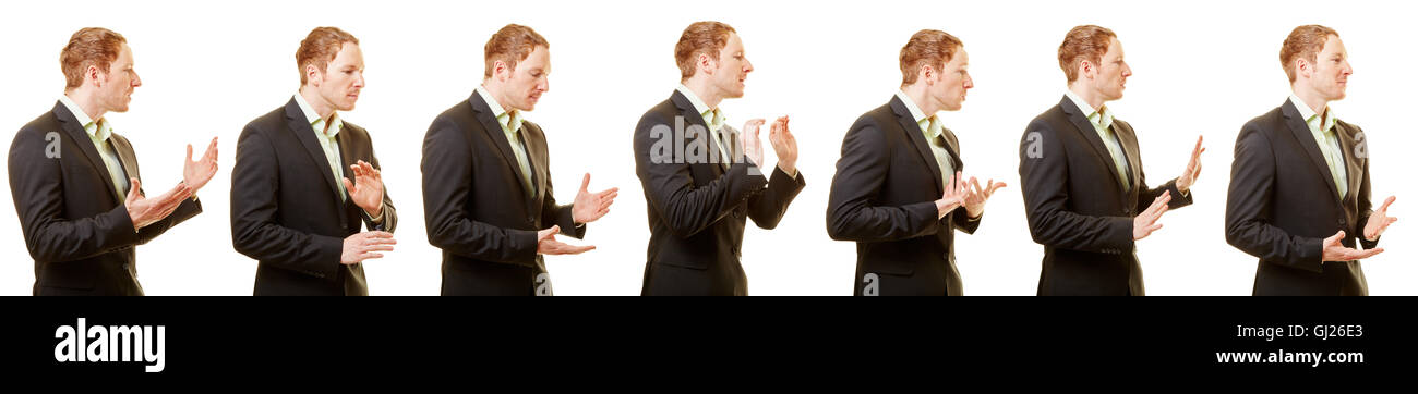 Business body language and gestures of a man with a suit - Stock Image