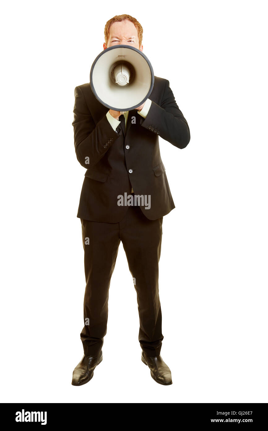 Man with a megaphone in a frontal portrait with a communication concept - Stock Image