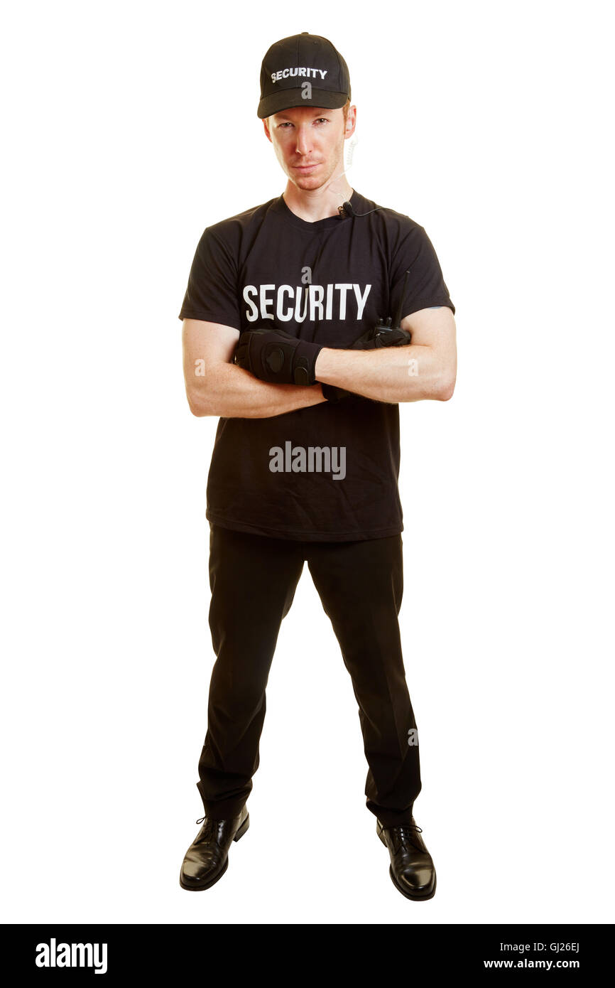 Man as a bodyguard or a security guard with security clothes - Stock Image