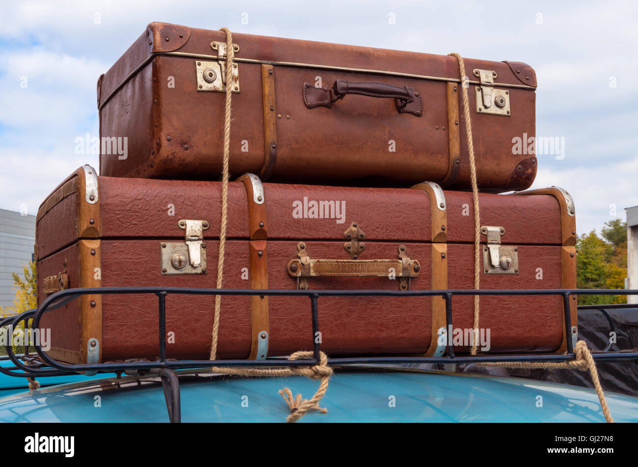 Hand Carryon On The Roof Of Retro Car Tied With Ropes Gj Initials