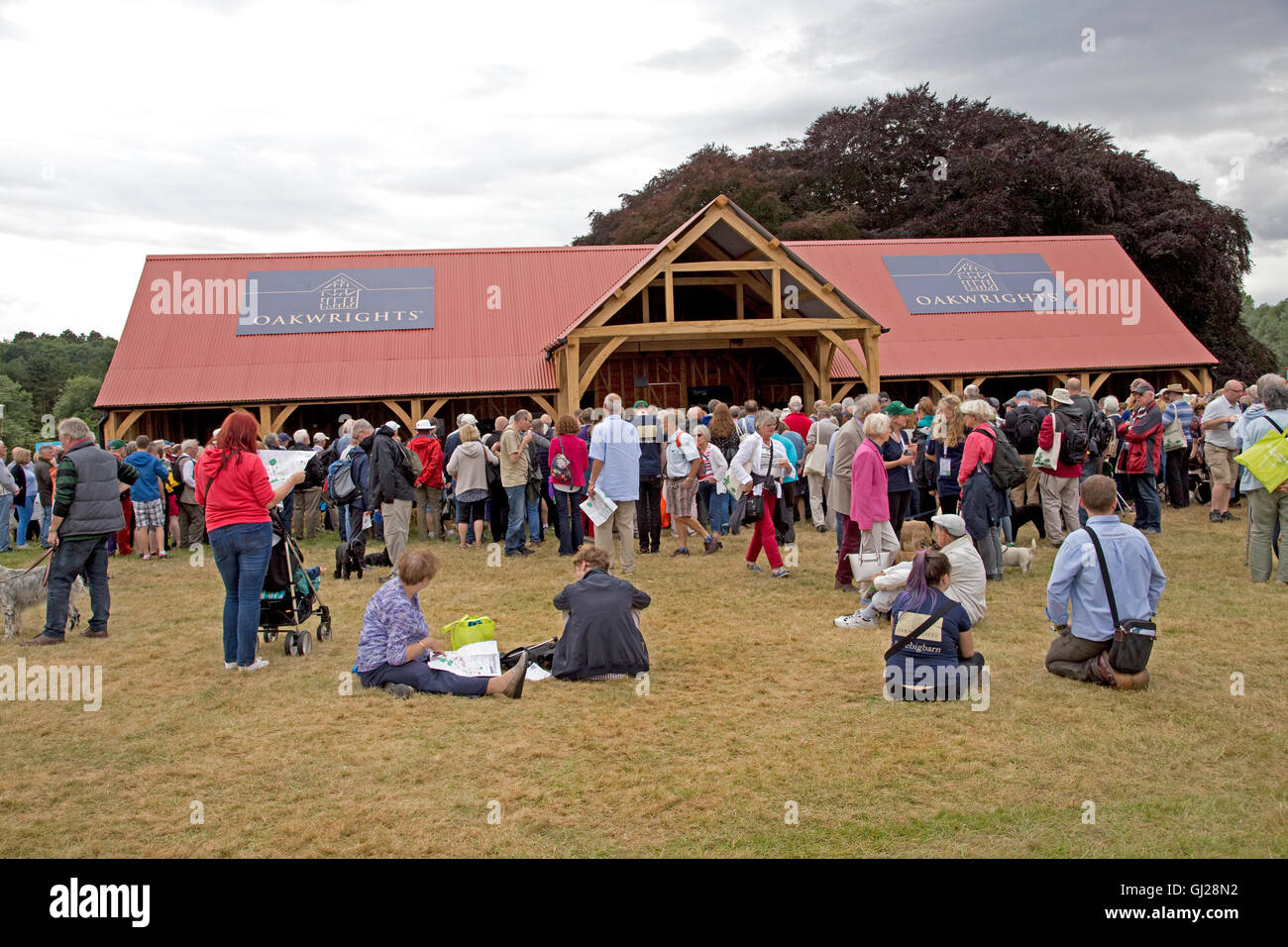 Visitors crowded around Big Barn Countryfile Live on first day Blenheim UK - Stock Image