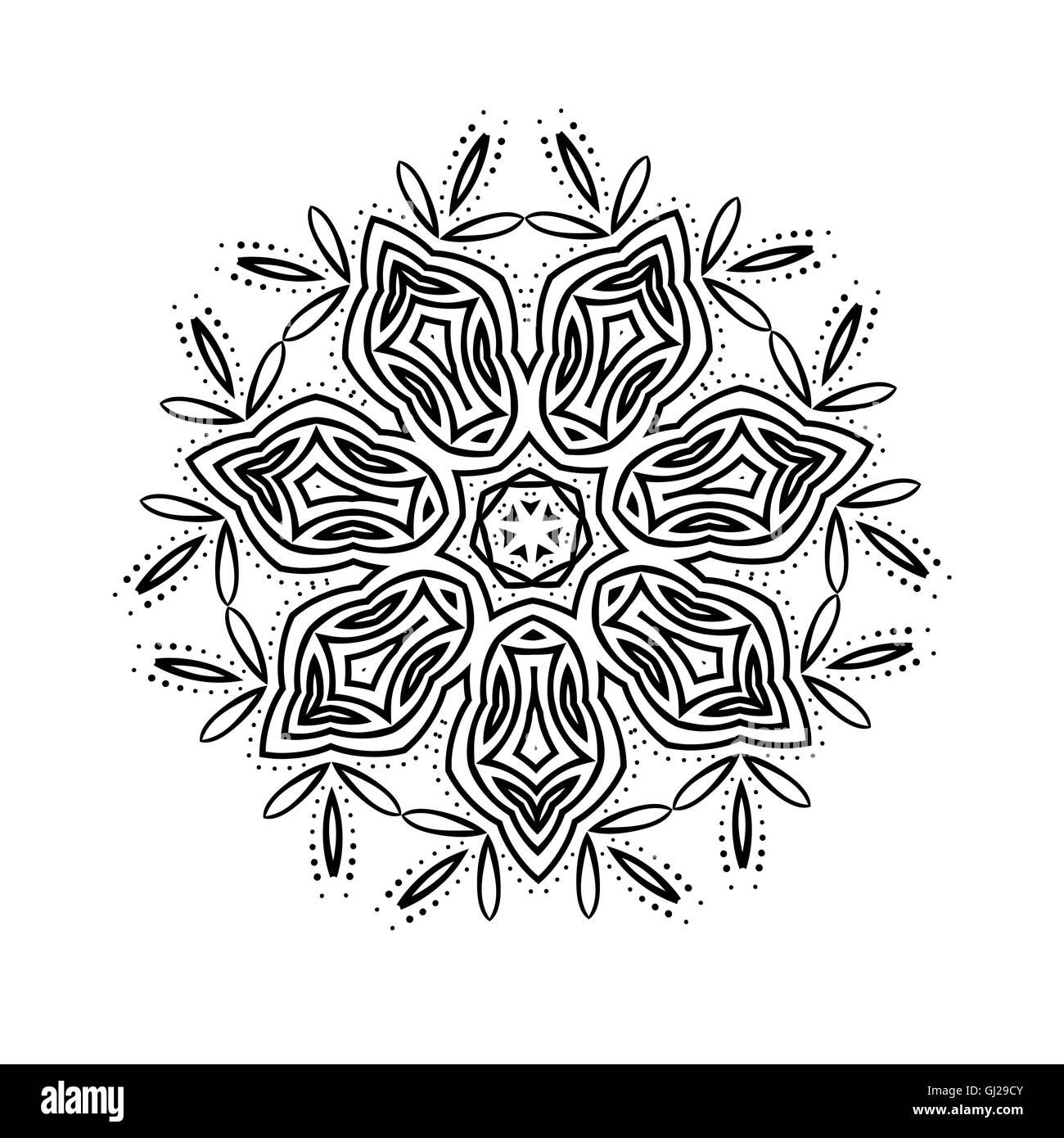 Buddhist Philosophy Mandala Black Flower Pattern Background Yoga Asanas Meditation Indian Knowledge Asian Decorative Painting