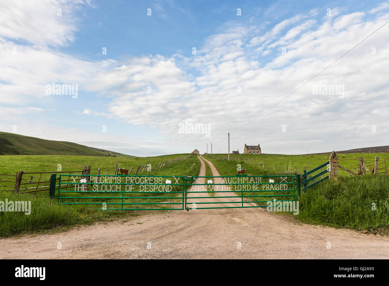 Religious text on farm gates in Scotland. Stock Photo