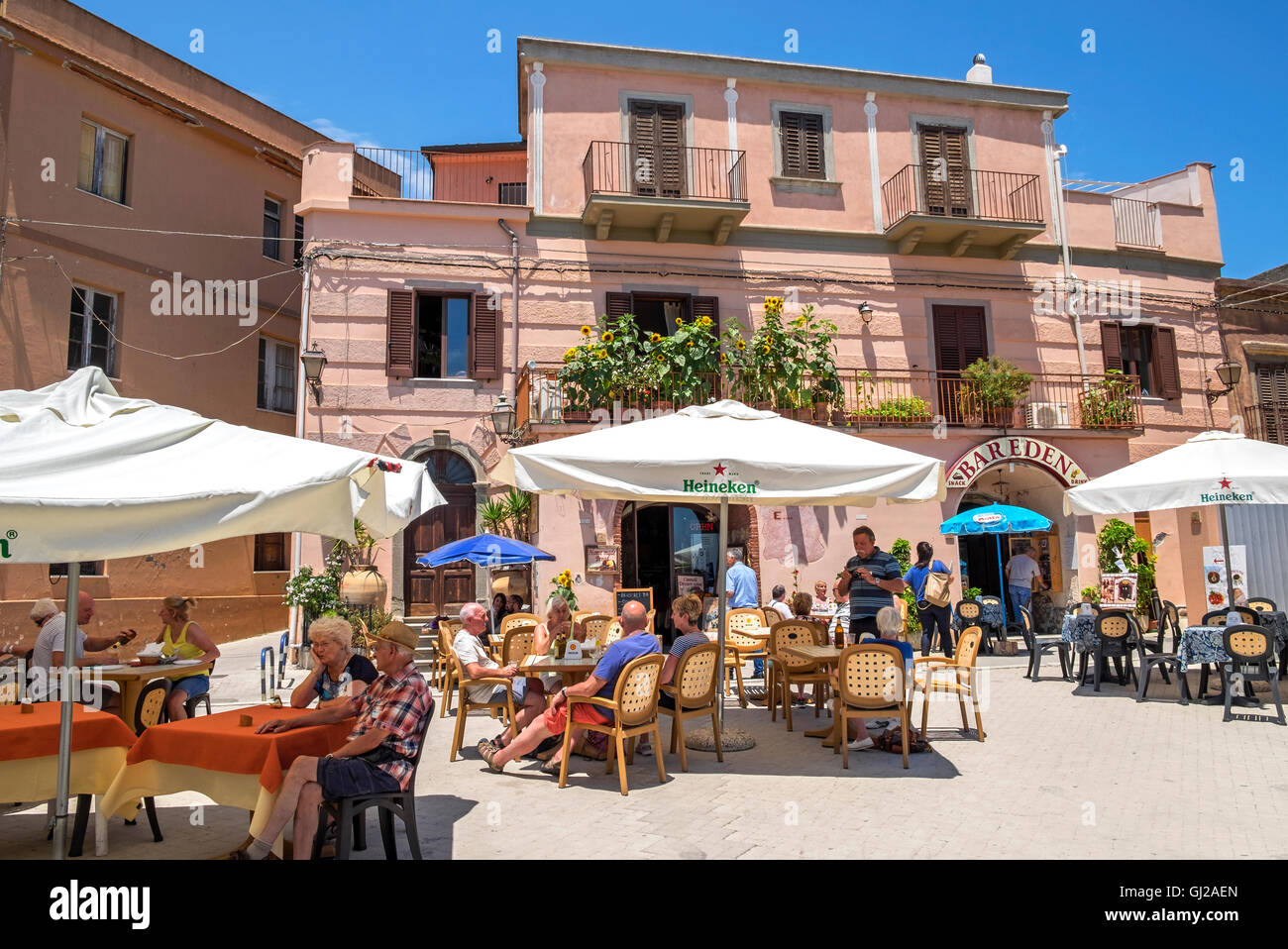 The village square in Forza d'Agro on the island of Sicily, Italy - Stock Image
