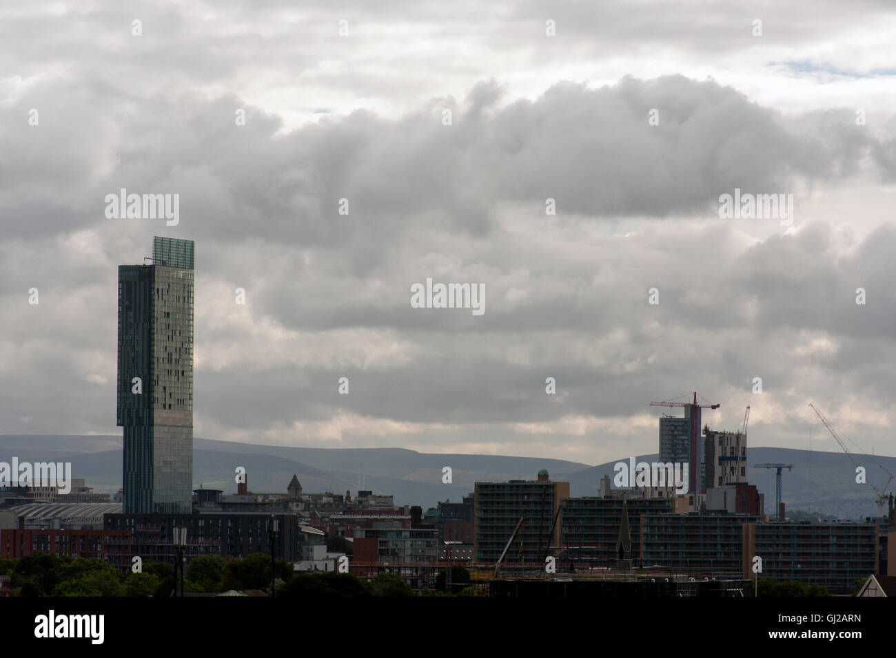 Manchester Skyline from Salford Quays Looking to City Centre - Stock Image