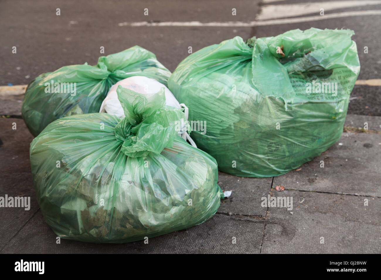 Green rubbish bags / trash in the city. - Stock Image