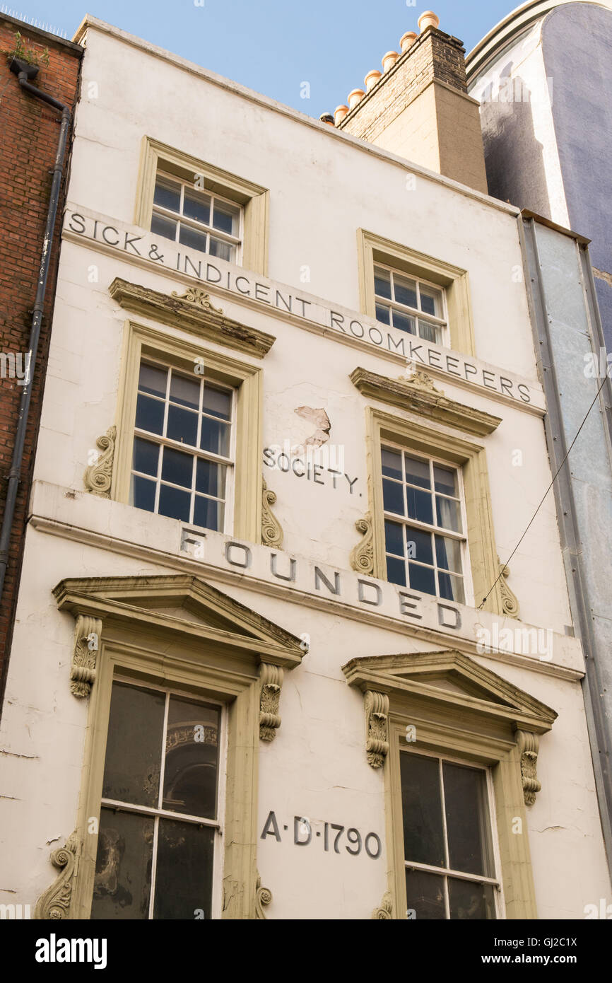 'Sick and Indigent Roomkeepers Society' - Palace Street, Dublin, Ireland - Stock Image