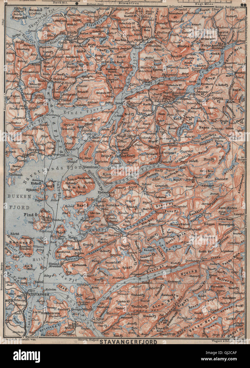 tau kart STAVANGER/BOKNA FJORD topo map. Nedstrand Tau Sauda Etne. Norway  tau kart