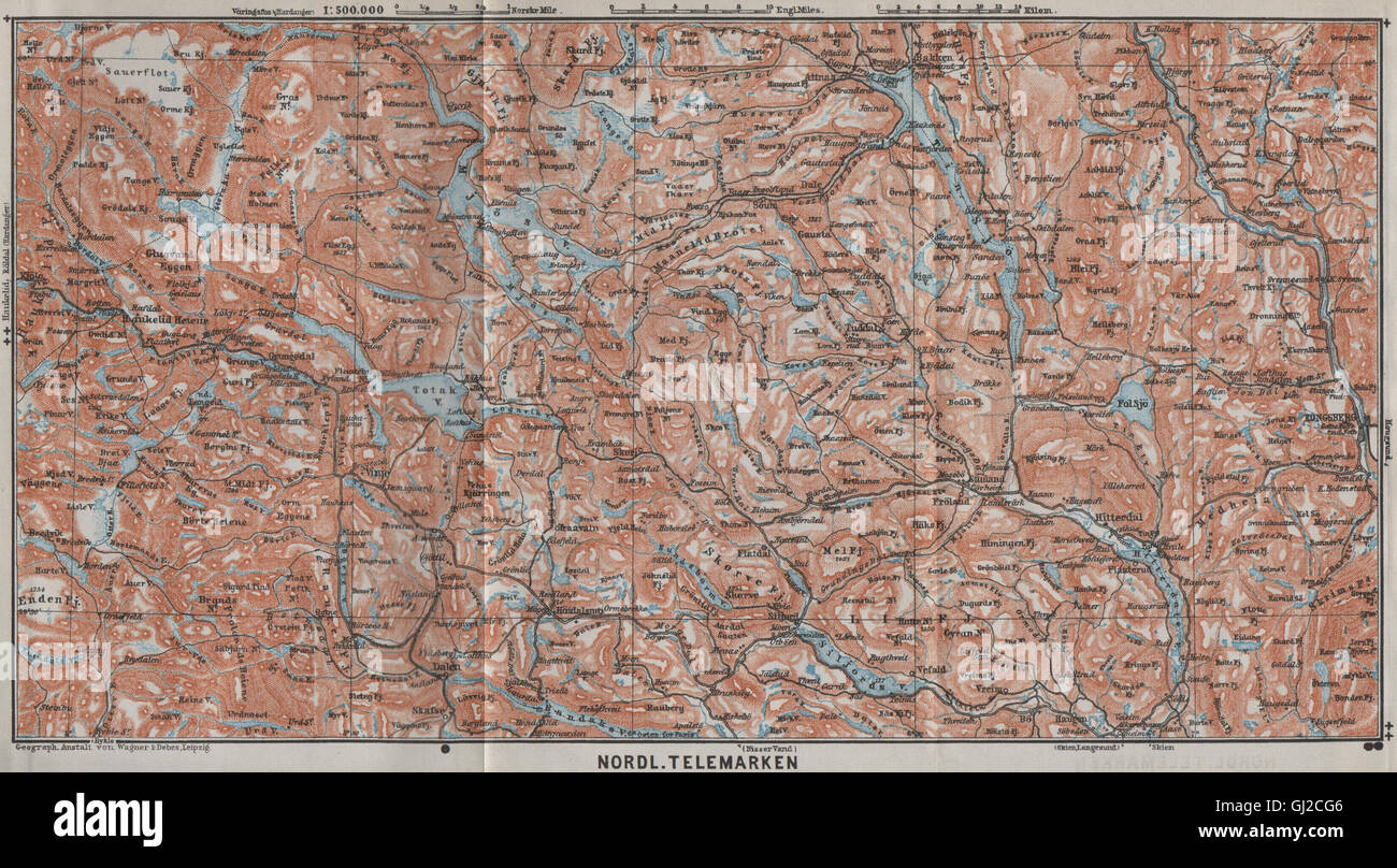 North Telemarken Topo Map Kongsberg Dalen Bakken Norway Kart