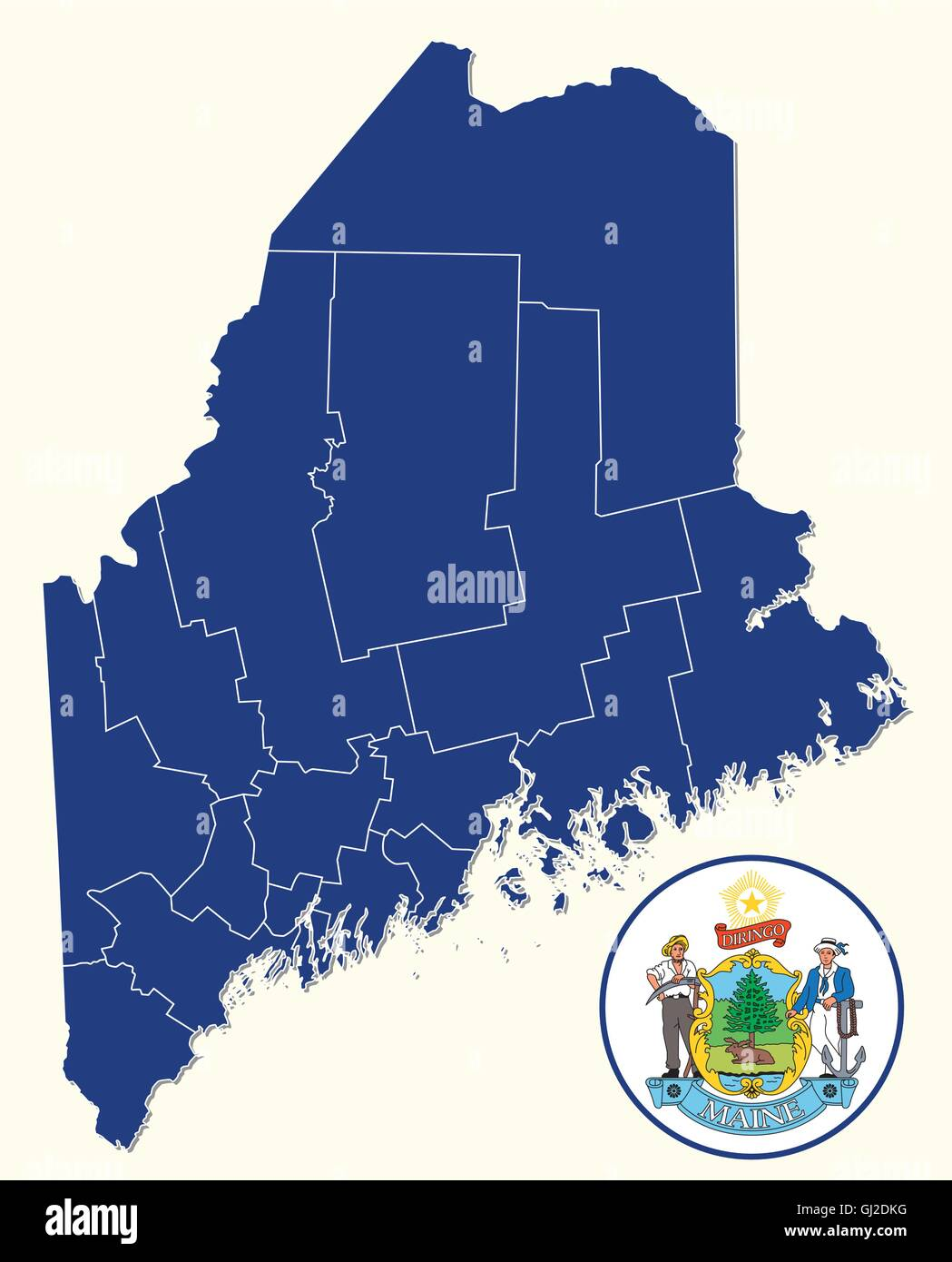 Maine map stock photos maine map stock images alamy simple administrative and political map with seal of the us state of maine stock image freerunsca Image collections