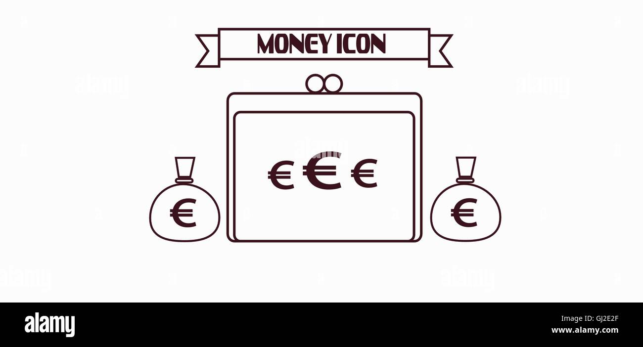Money Icon With Euro And Dollar Currency Symbols With A Wallet Over