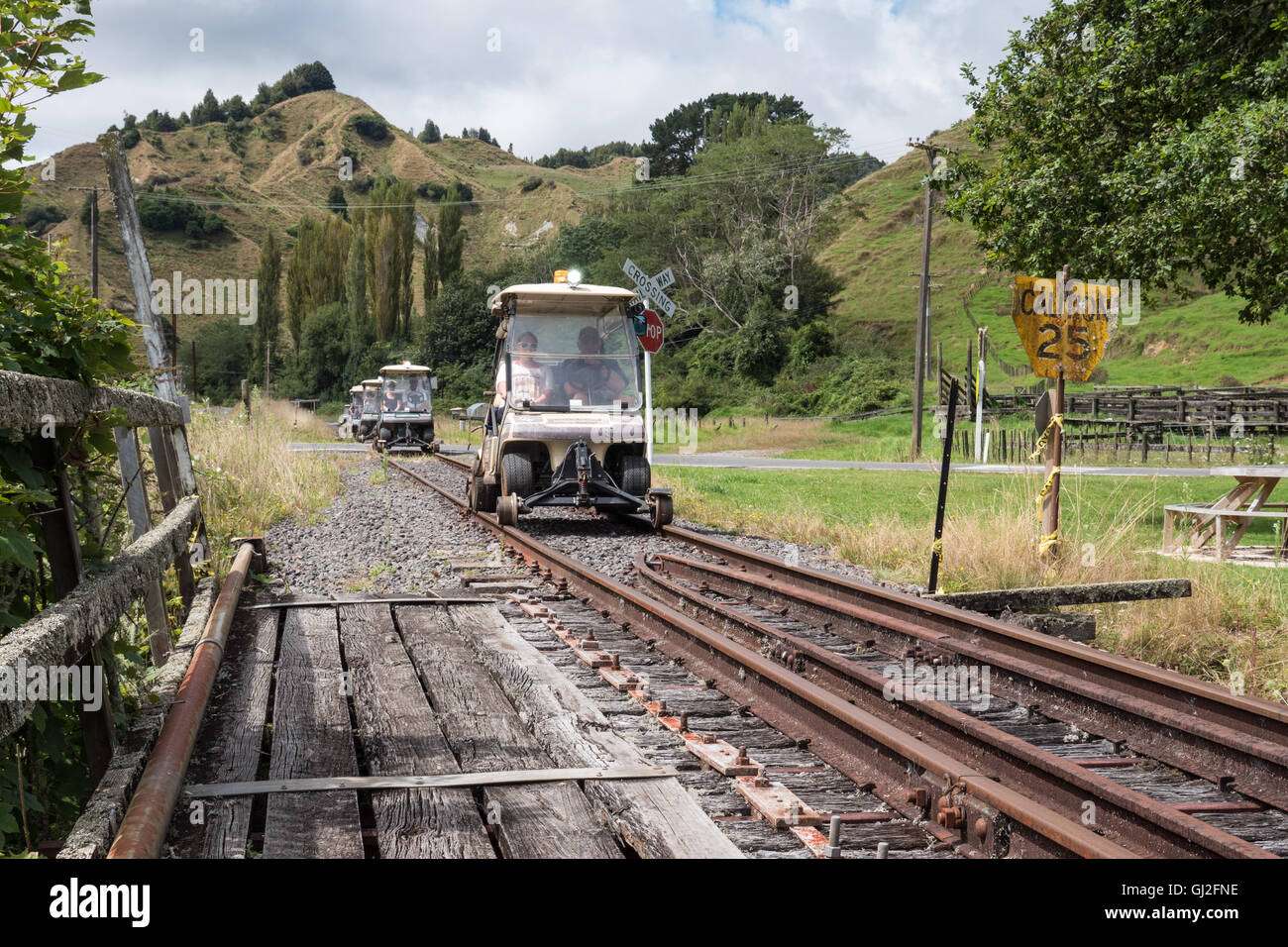 Forgotten world railway,Whangamomona  Taranaki, North Island, New Zealand. - Stock Image