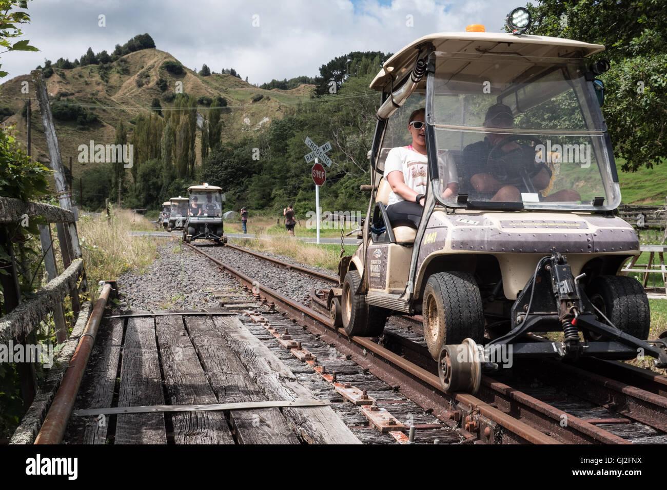 Forgotten world railway,Whangamomona  Taranaki, North Island, New Zealand. - Stock Image