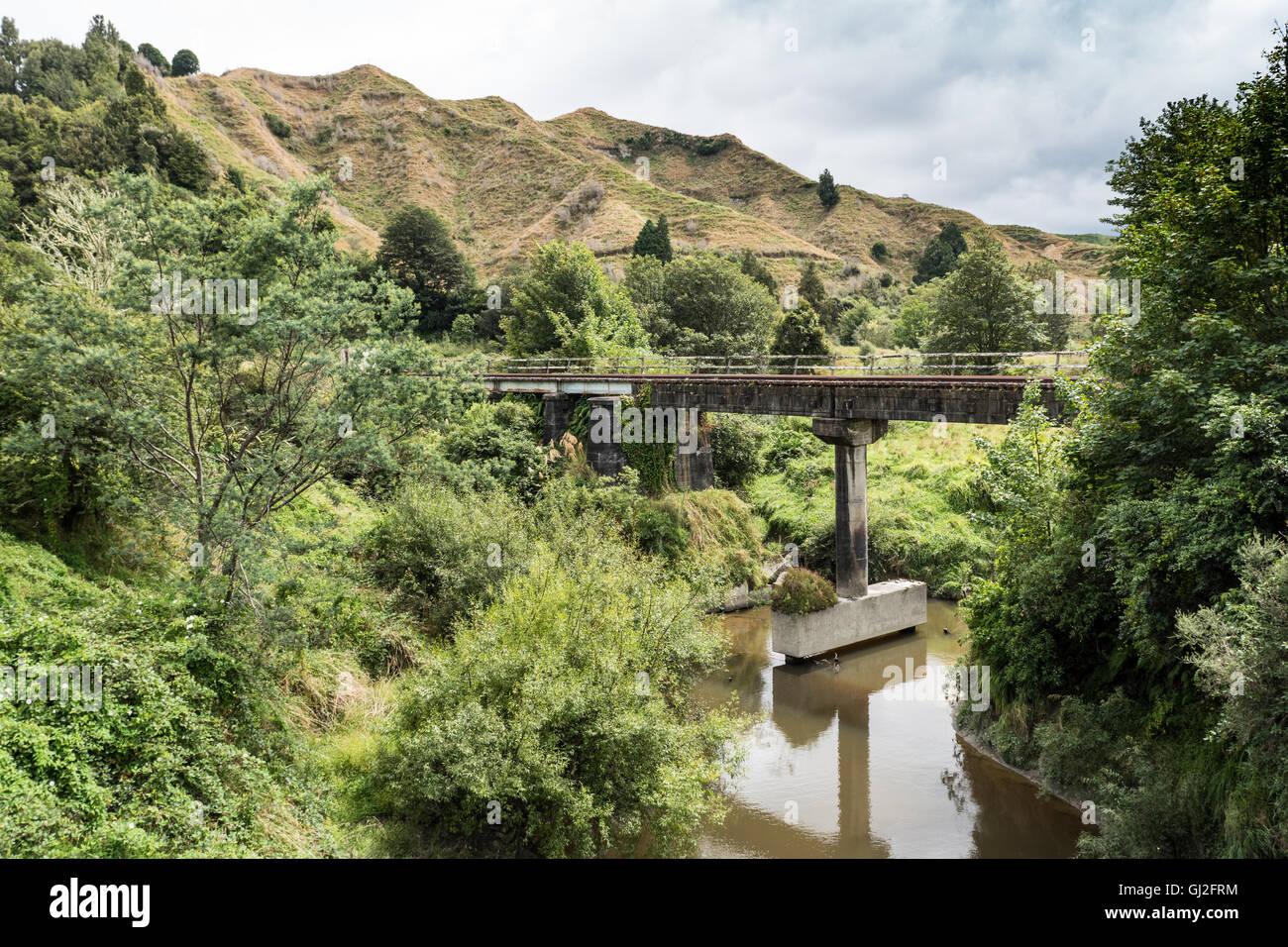 Railroad bridge spanning the Whangamomona River at Whangamomona New Zealand North Island. - Stock Image
