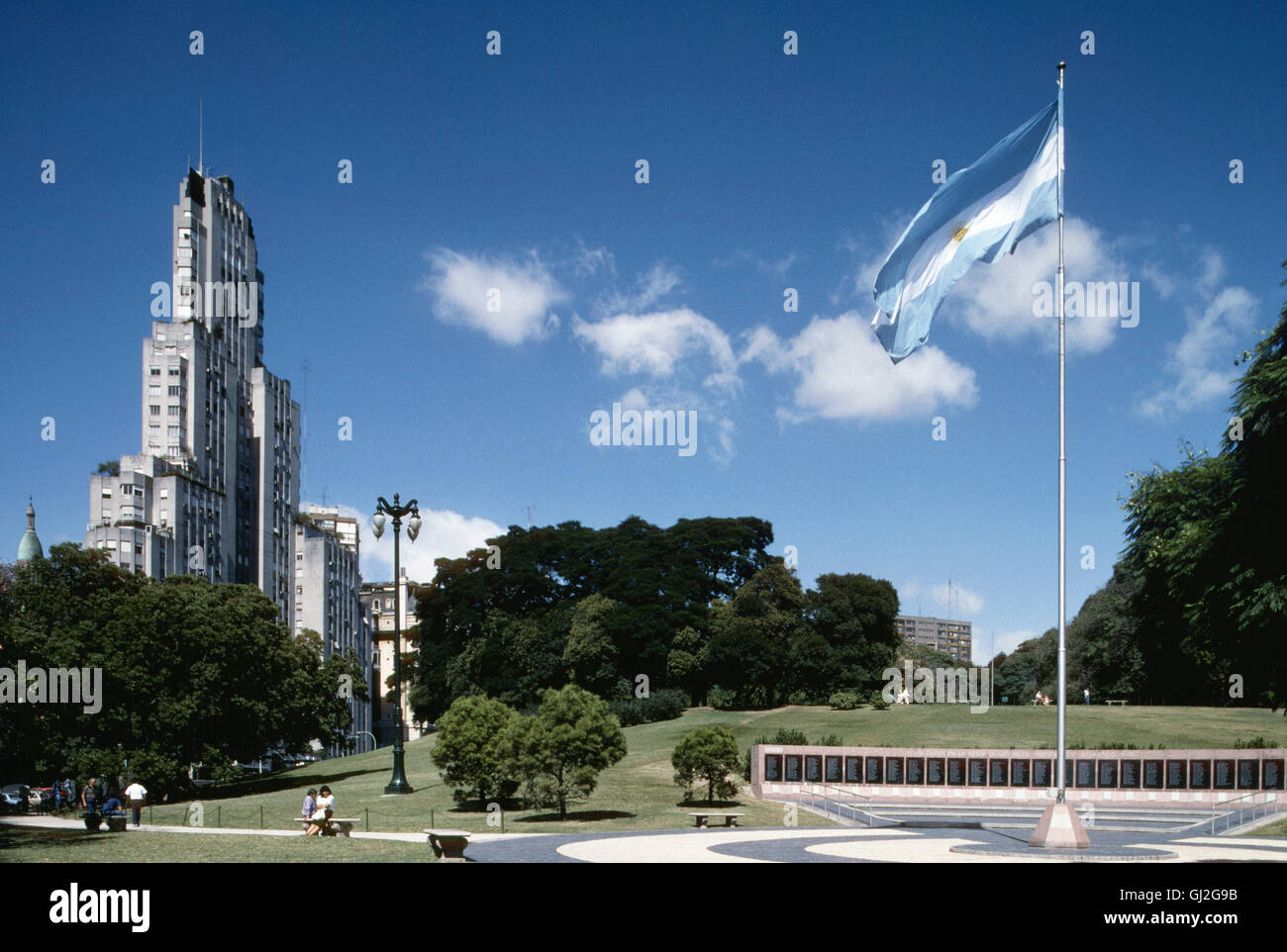 kavanagh building and monument to the fallen of the malvinas, st martin square, buenos aires, argentina, south america - Stock Image