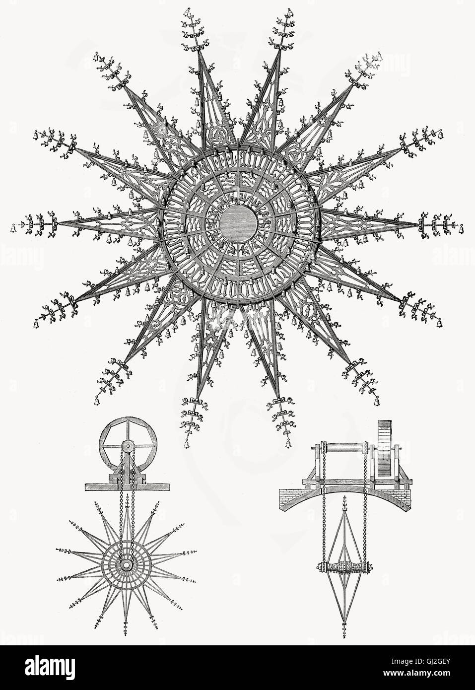 A Bell Wheel, Music theory by  Athanasius Kircher, 1602- 1680, a 17th-century German Jesuit scholar and polymath - Stock Image