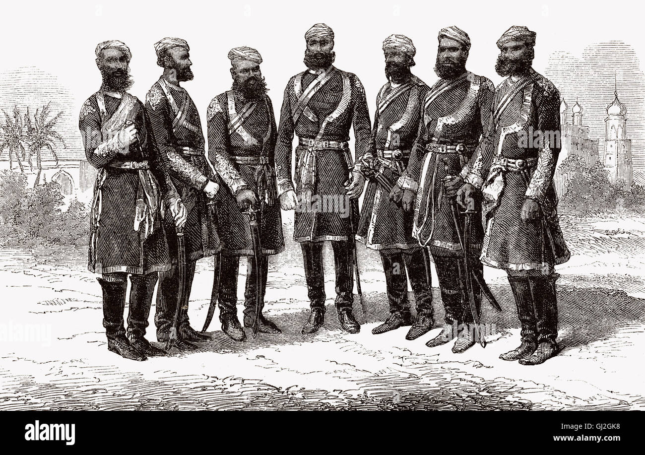 Punjab cavalry officers, British India, 19th century - Stock Image