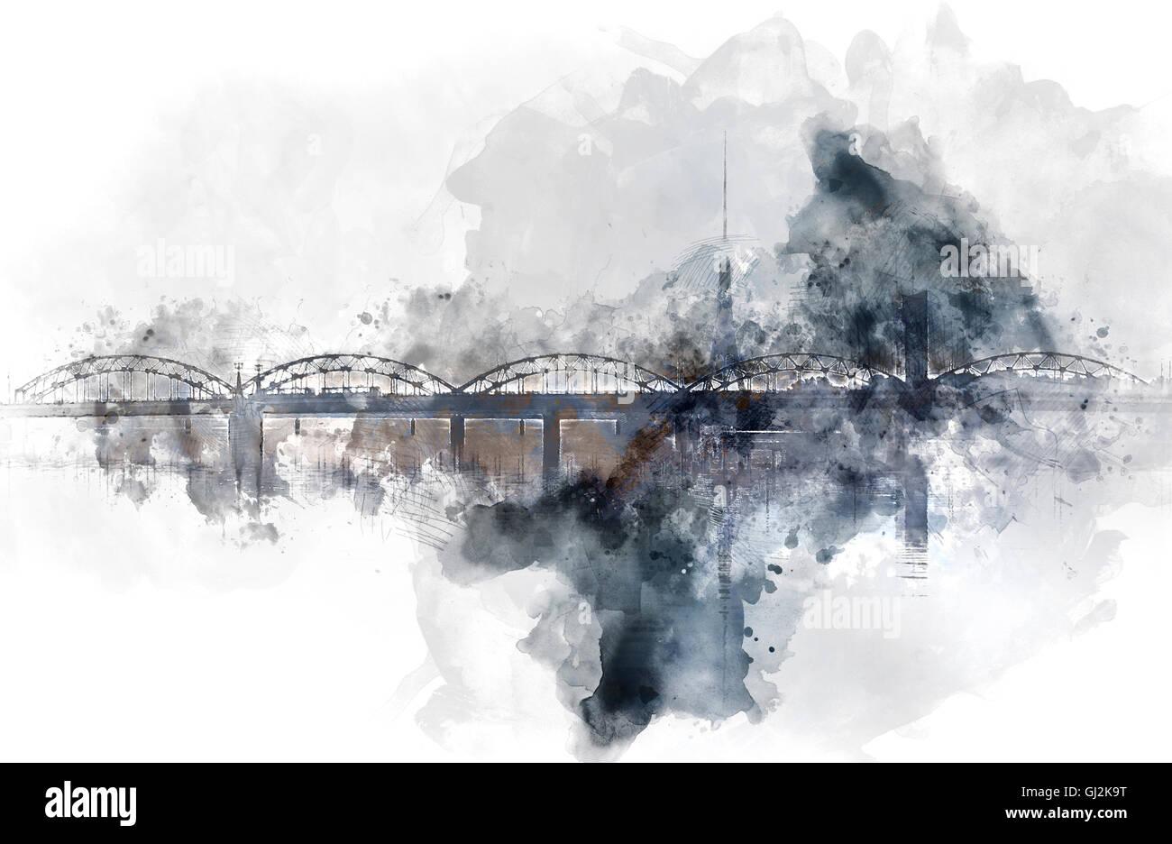 Digital watercolor painting of a Railway bridge over the Daugava river Stock Photo