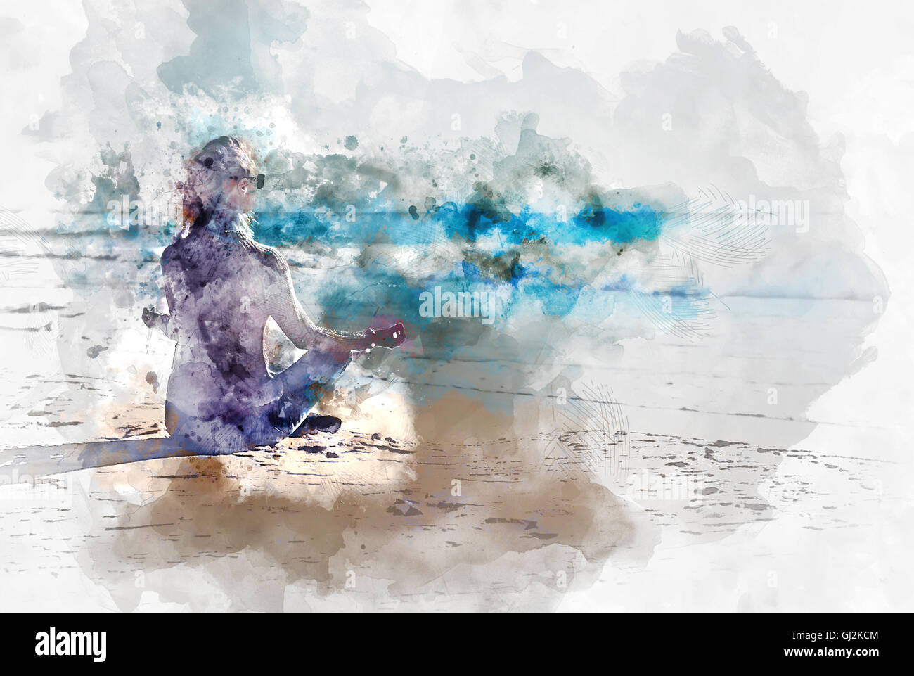 Young woman meditating on the beach digital watercolor painting stock image