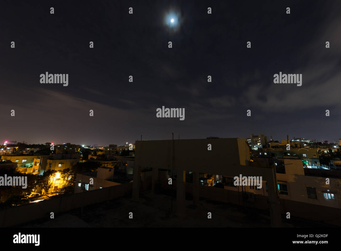 Hyderabad rooftop view at night - Stock Image