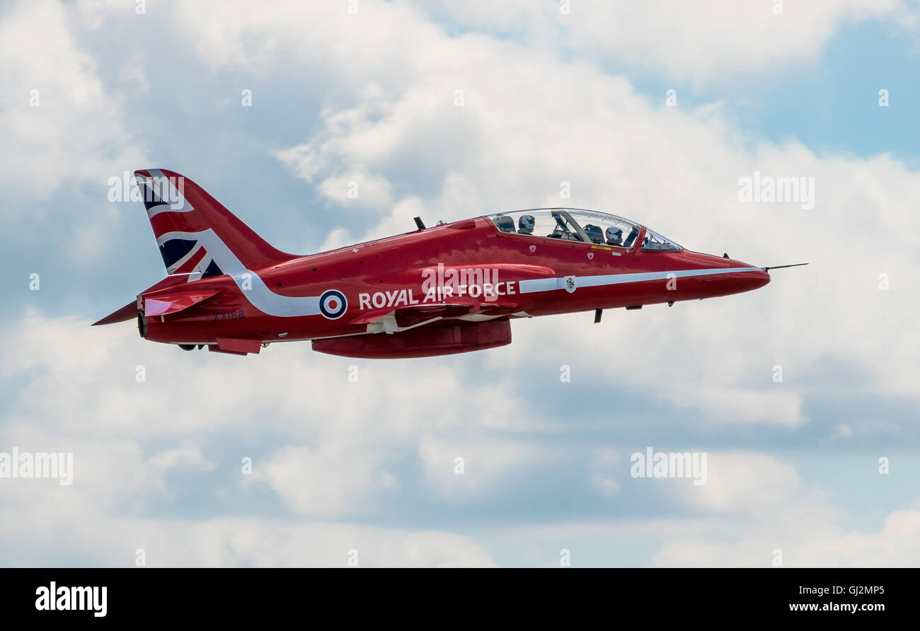 CHESTER, UNITED KINGDOM - August 06, 2016: Red Arrows departing from Chester Airport. Chester Airport August 06 - Stock Image