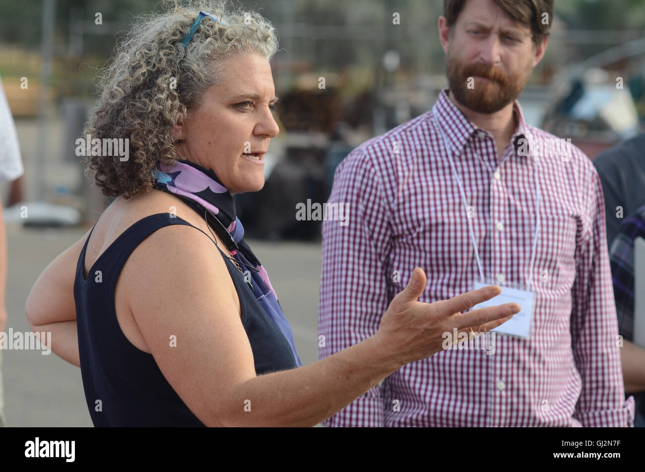 Kara Mertz, Environmental Project Manager for the city of Boulder, gestures as she talks during the city's 'homeless - Stock Image