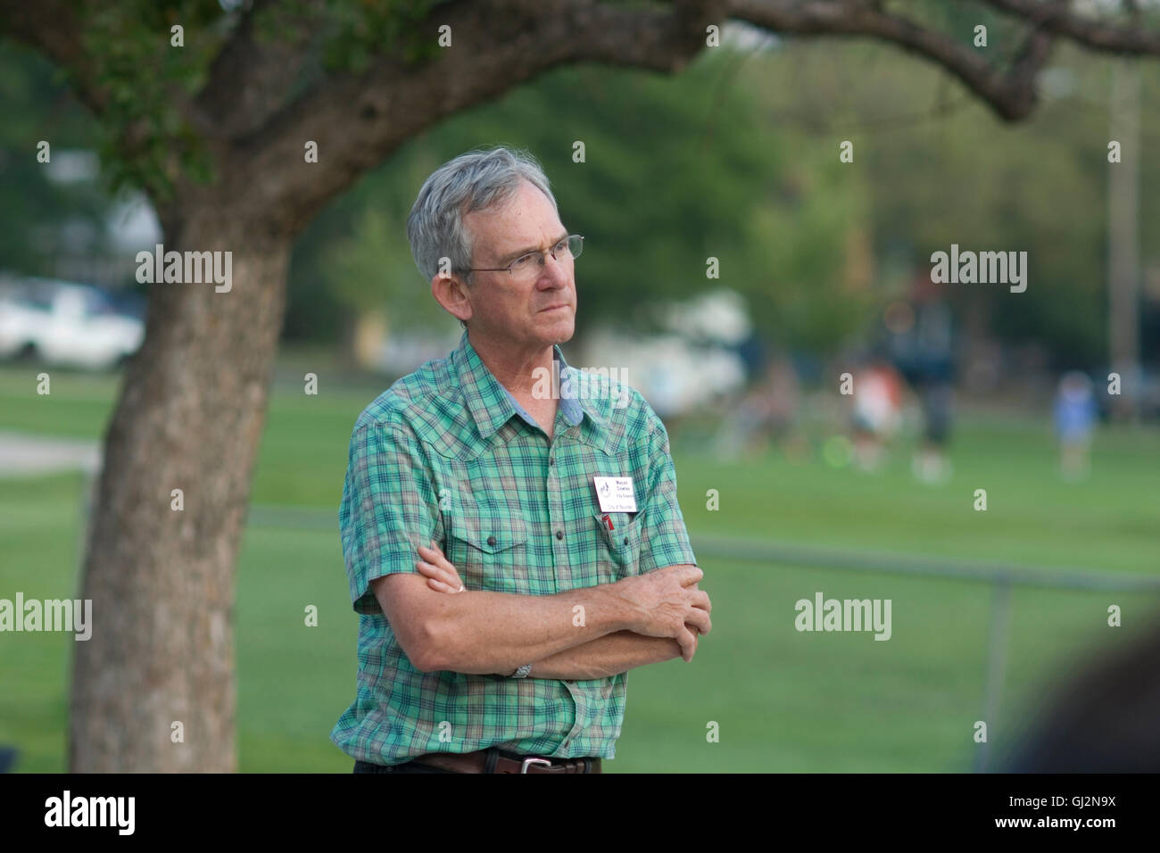 Former Boulder City Council member Macon Cowles at picnic to discuss redevelopment of old Boulder Community Hospital - Stock Image
