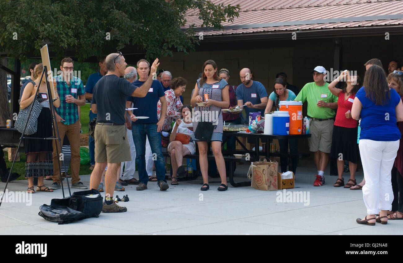 An open community meeting and picnic at North Boulder Park to discuss the future of hospital site redevelopment, - Stock Image